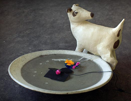 Bird bath and peeing dog, 2007