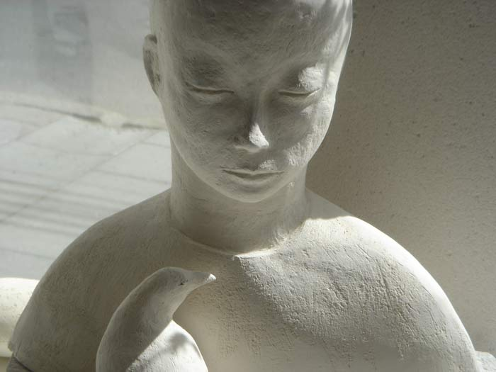 Boy with bird, stoneware, 2007